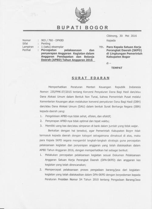Website Resmi Kabupaten Bogor Surat Edaran Percepatan Pelaksanaan